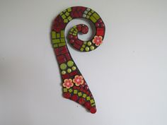 Mosaic Koru in Red and Yellow