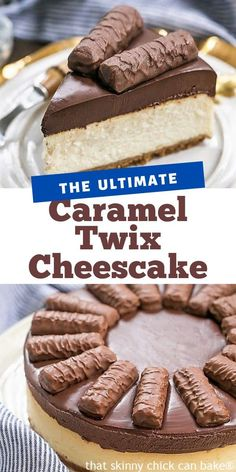 Chocolate Caramel Twix Cheesecake combines 3 fabulous dessert foods: Cheesecake, Chocolate and Caramel! A rich, exquisite, swoon-worthy dessert! A decadent combination of cheesecake, chocolate and caramel! Cheesecake Desserts, Just Desserts, Delicious Desserts, Dessert Recipes, Yummy Food, Caramel Cheesecake, Chocolate Cheesecake, Cheesecake Strawberries, Health Desserts