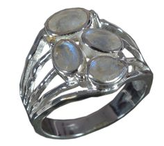 925 Solid Sterling Silver Ring Natural Rainbow Moonstone US Size 8.75 JSR-607 #Handmade #Ring