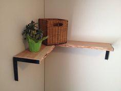 Reclaimed Raw Edge Cherry Corner Shelf with Sleek JP Brackets on Etsy, $138.30 AUD