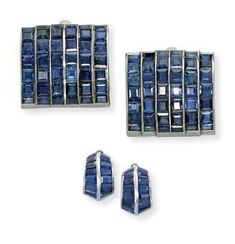 """A set of art deco sapphire """"Pont"""" jewellery, by Suzanne Belperron. photo Christie's Ltd 2010 Comprising a pair of bombé. Art Deco Jewelry, Vintage Jewelry, Best Mate, Jewelry Boards, Blue Sapphire, Gemstone Jewelry, Fashion Jewelry, Jewels, Gemstones"""