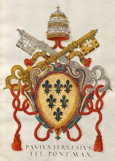 «Insignia pontificum Romanorum et cardinalium III. Insignia nobilium urbis Romae praecipuorum item Viterbiensium», [S.l.] Italien, Mitte 16. Jh. [BSB Cod.icon. 268] -- f° 5r: Familienwappen römischer Adelsfamilien. Paul III. Farnese [Coat-of-arms of Pope Paul III, Alessandro Farnese, Italian, 1468-1549] -- In tutti i manoscritti Fugger (Cod.icon. 266÷279) molti cognomi sono scritti in maniera sbagliata [MG]