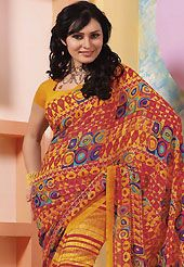 You can be sure that ethnic fashions selections of clothing are taken from the latest trend in today's fashion. This dark yellow and dark pink faux georgette saree is nicely designed with abstract, geometric and stripe print work. Saree gives you a singular and dissimilar look. Matching blouse is available. Slight color variations are possible due to differing screen and photograph resolution.