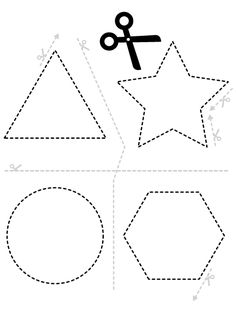 Separate the shapes. Then cut every shape. Preschool Cutting Practice, Cutting Activities, Preschool Writing, Preschool Learning Activities, Free Preschool, Preschool Lessons, Physical Activities, Physical Education, Dementia Activities