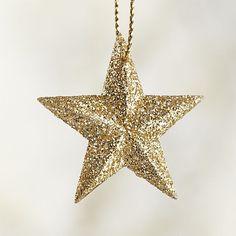 Glitter Star Gold Ornament | Crate and Barrel