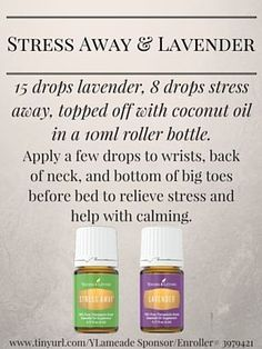 Young Living Essential Oils Emotional Support Stress Away Roller Blend. Sign up and purchase oils at www.tinyurl.com/YLameade with sponsor/enroller # 3979421 #Stress