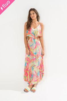 Vestido ponta caribe fluorencente. #jáquero #lindo #altoverão #FarmRio