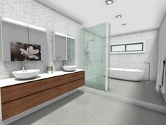 A contemporary bathroom that features clean and simple lines. Tile Layout, Bathroom Layout, Bathroom Designs, Contemporary Style Bathrooms, Bathroom Styling, Simple Lines, Sweet Home, Vanity, Furniture