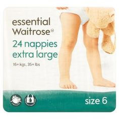 Waitrose essential - disposable - 2 tape fastening. The larger sizes of disposable nappies marketed at babies and toddlers will fit children well beyond toddlerhood and are a low cost solution. Watirose's largest is size 6 (16+ kg). The max size is not quoted but should be good for up to 26kg. Only available at Waitrose.