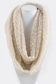 Crochet Infinity Scarf in Warm Mocha