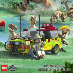 These Raptors are going bananas for next month's release of LEGO Jurassic World Game​! Lego Jurassic World Game, Jurassic World Poster, Jurassic World Raptors, Jurassic Park World, Lego Motorbike, Lego Dinosaur, Jurrassic Park, Lego Dragon, Jurassic World