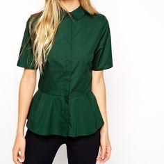 Peplum shirt Asos green peplum button up shirt ASOS Tops