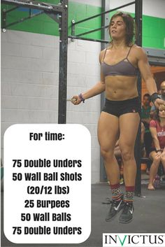 CrossFit Workouts by Invictus that you can do at the gym or at home. All you need is a jump rope and a ball!