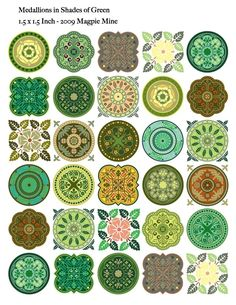 Medallions Shades of Green Collage Sheet - 1.5 Inch Circles and Squares - Digital Download - Printable. $4.00, via Etsy.