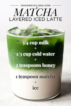 Iced matcha latte is a refreshing beverage that's easy to make. Get step-by-step directions on how to create a pretty layered iced matcha latte at home. Yummy Drinks, Healthy Drinks, Healthy Food, Refreshing Drinks, Healthy Milk, Nutrition Drinks, Matcha Green Tea Latte, Matcha Drink, Green Tea Recipes