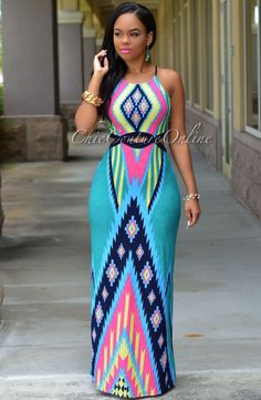 TEAL MULTI-COLOR AZTEC PRINT MAXI DRESS [[MORE]]Fashion By Chic Couture Online
