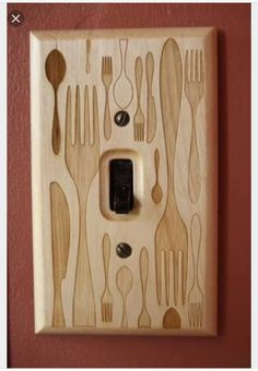 Forks and Spoons and Knives Oh My Wooden Light Switch.via Etsy. Laser Cutter Ideas, Laser Cutter Projects, Router Projects, Woodworking Projects, Trotec Laser, Lazer Cutter, Laser Cutter Engraver, Gravure Laser, Cnc Wood