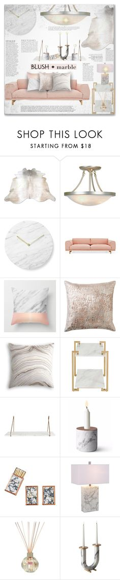"""Blush + Marble"" by mood-chic ❤ liked on Polyvore featuring interior, interiors, interior design, home, home decor, interior decorating, Trans Globe Lighting, Anja, Menu and Muuto"