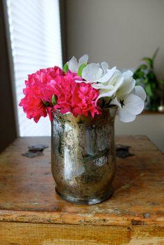 Very Distressed Gold Mercury Glass Votive Candleholder Candle Holder Vase Wedding Home Decor Centerpiece Glass