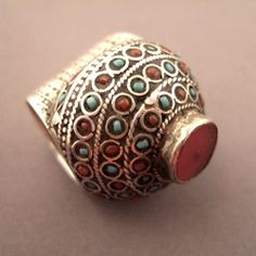 Afghanistan   Ring; silver, turquoise, coral and carnelian   Sold