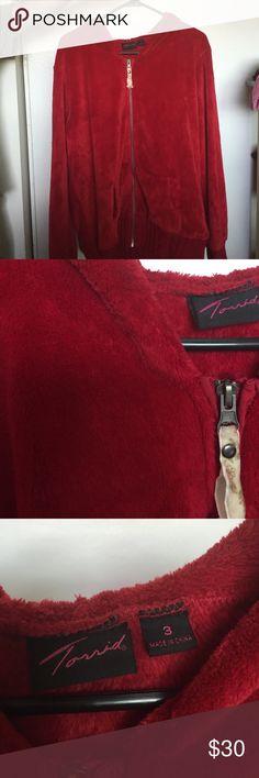 Red torrid super plush zip up hoodie size 3 Super warm and soft worn once torrid size 3 torrid Tops Sweatshirts & Hoodies