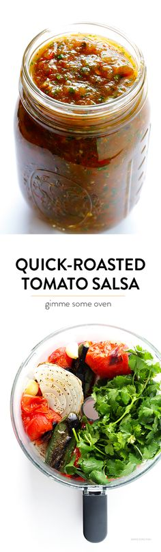 delicious Quick-Roasted Tomato Salsa is full of absolutely delicious rich flavors, and it's ready to go in less than 20 minutes! Mexican Dishes, Mexican Food Recipes, Vegetarian Recipes, Cooking Recipes, Healthy Recipes, Roasted Tomato Salsa, Roasted Tomatoes, Hacks Cocina, Dips