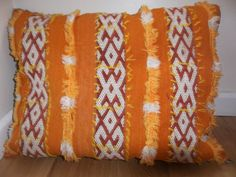 Traditional Berber Moroccan Cushion Cover Orange White 100% wool