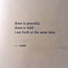 there is peaceful. there is wild. I am both at the same time.