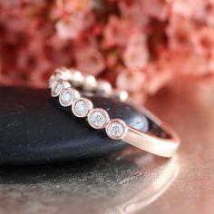 Bezel Set Diamond Wedding Ring in 14k Rose Gold Half Eternity