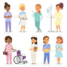 Nurses Character Set by Vectorssstocker Medical team of doctors and nurses meeting in hospital setting for lesson, rounds or planning. Nurses character female of many eth Nurse Art, Communication Icon, Human Icon, Buch Design, Pics Art, Up Book, People Illustration, Game Concept, Practical Gifts