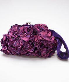 Purple Velvet Rosette Clutch
