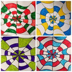 Op Art Lessons, Art Lessons Elementary, Zentangle Drawings, Abstract Drawings, Line Art Lesson, Class Art Projects, Teen Art, 6th Grade Art, Jr Art