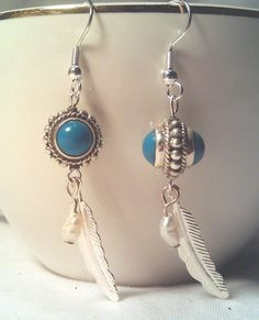 Silver and Turquoise with Feather and Freshwater Pearl Drop Earrings