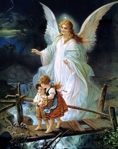 Guardian Angel and Children Crossing Bridge Fine Art Print - Lindberg Heilige Schutzengel