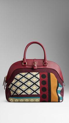 Große Bowlingtasche aus Leder mit Gobelindruck | Burberry