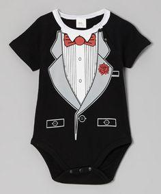 Black & White Tuxedo Bodysuit - Infant by Hollywood Mirror #zulily #zulilyfinds