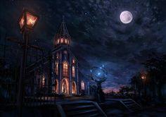 iglesia, noche, luna, estrellas, luces, obras de arte