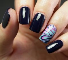 Nail Polish Society: Jenna Hipp I Cast A Spell On Blue With Water Marble Accent
