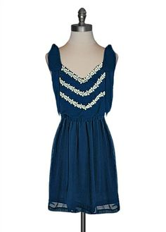 Judith March - Blue Crochet Shoulder Bow Dress - cute for a summer party