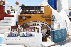 Book shop on Santorini (Atlantis books) Greece - Beautiful and unusual bookshops from around the world Atlantis, Santorini Island, Santorini Greece, Mykonos, Peak District, Dream Book, Love Book, Greece Travel, Greece Trip