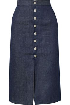 Luz cotton and linen-blend chambray skirt Chambray Skirt, Tie Skirt, Denim Top, Pride And Prejudice, Skirt Outfits, Modest Fashion, Look Fashion, Dresses With Sleeves, Skirts