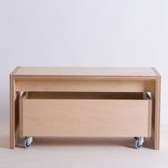 Bench and Storage Box on Wheels  Birch Plywood by bee9designshop