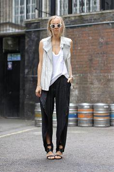 alexander wang top  h&m vest  cos pants  zara heels  monki sunglasses
