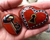 Love is the key / you hold the key to my heart / painted rocks / Sandi Pike Foundas / love from Cape Cod sea stone / lock and key
