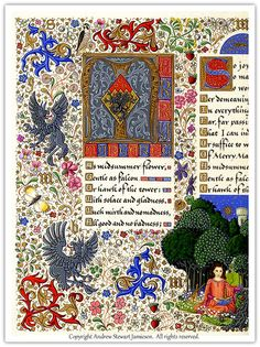 Illuminated Manuscript designed and painted by English Artist Andrew Stewart Jamieson. - Andrew does a marvelous job. I'm very happy that the tradition of illumination has a follower.