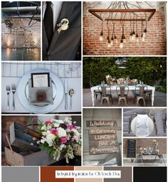 THE 'FEELING' OF THE WEDDING: Rustic Modern Wedding | exposed brick, barn wood, chalkboard (different palate: eggplant, rustic orange...)