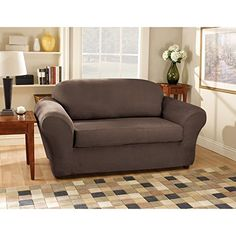 Sure Fit Stretch Suede Bench Seat Sofa Slipcover Chocolate SF34802 ** Click  Image For More