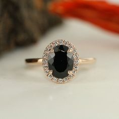 Gemstone jewelry Set - Black Spinel And Diamond Halo Engagement Ring In Rose Gold Black Oval Cut Gemstone Ring Anniversary Ring Bridal Set Available. Black Diamond Engagement, Halo Diamond Engagement Ring, Oval Engagement, Solitaire Diamond, Solitaire Rings, Black Diamond Rings, Gemstone Engagement Rings, Engagement Jewelry, Wedding Engagement