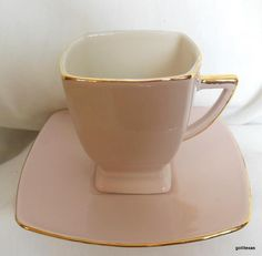 Demi Tasse Cup and Saucer Light Rose Gold Trim 3  Tall Square
