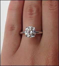 A 4.2 CARAT ROUND CUT RUSSIAN LAB DIAMOND SOLITAIRE ENGAGEMENT RING - Ships 1-2…